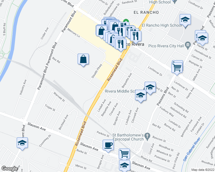 map of restaurants, bars, coffee shops, grocery stores, and more near in Pico Rivera