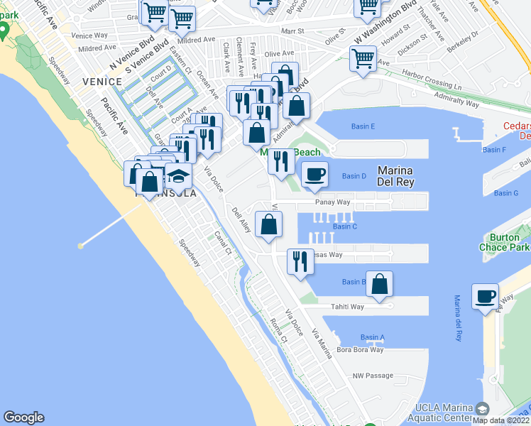 map of restaurants, bars, coffee shops, grocery stores, and more near 4201 Vía Marina in Marina del Rey