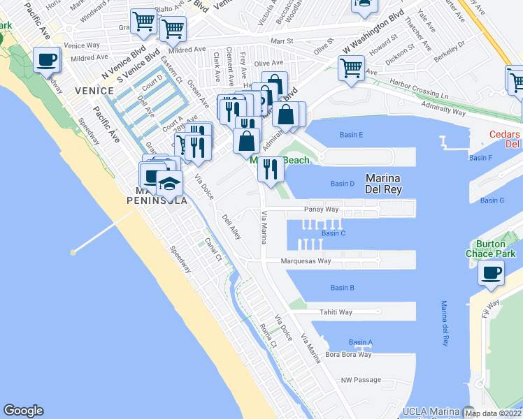 map of restaurants, bars, coffee shops, grocery stores, and more near 4171 Vía Marina in Marina del Rey