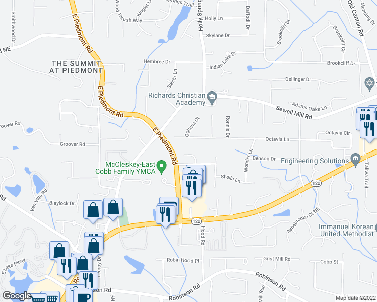 map of restaurants, bars, coffee shops, grocery stores, and more near 1180 Hailey Springs Court in Marietta