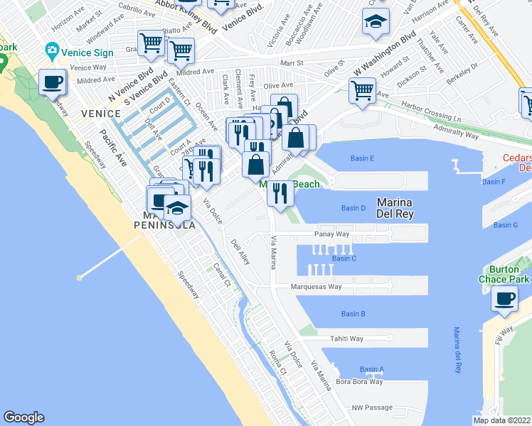 map of restaurants, bars, coffee shops, grocery stores, and more near 4169 Vía Marina in Marina del Rey