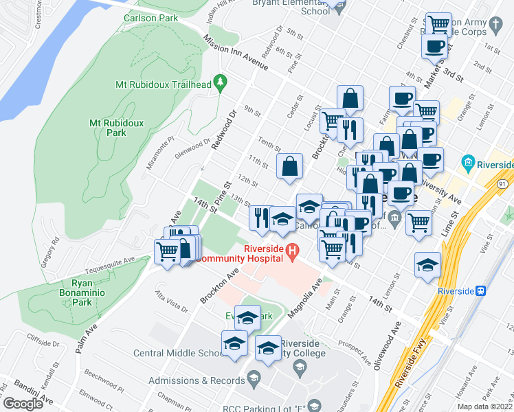 map of restaurants, bars, coffee shops, grocery stores, and more near 4293 Locust Street in Riverside