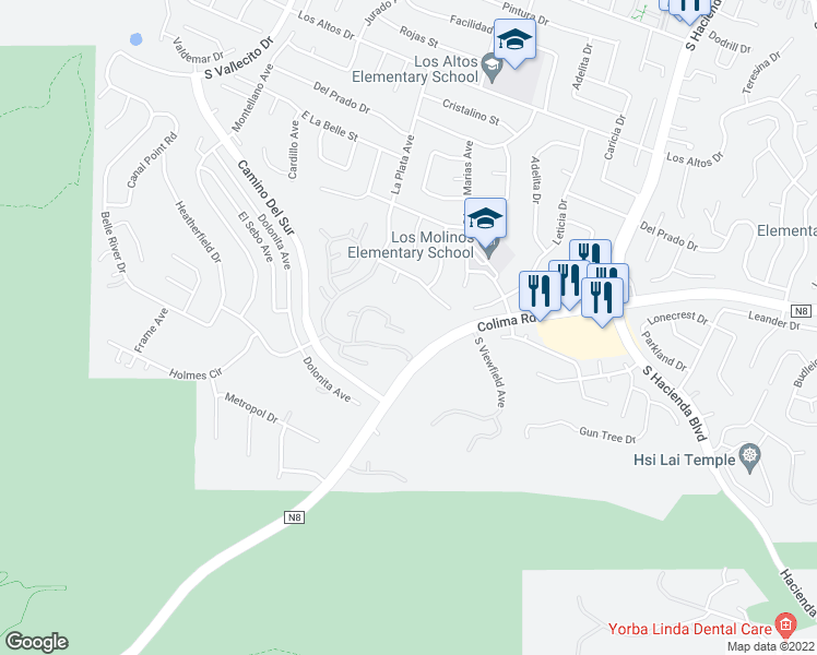 map of restaurants, bars, coffee shops, grocery stores, and more near 15523 Clay Cliffe Court in Hacienda Heights