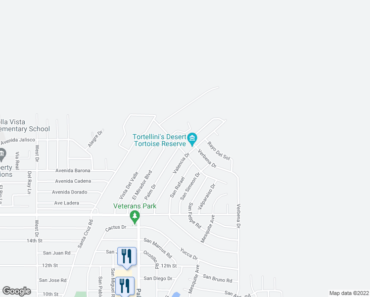 map of restaurants, bars, coffee shops, grocery stores, and more near 66748 Casa Grande in Desert Hot Springs