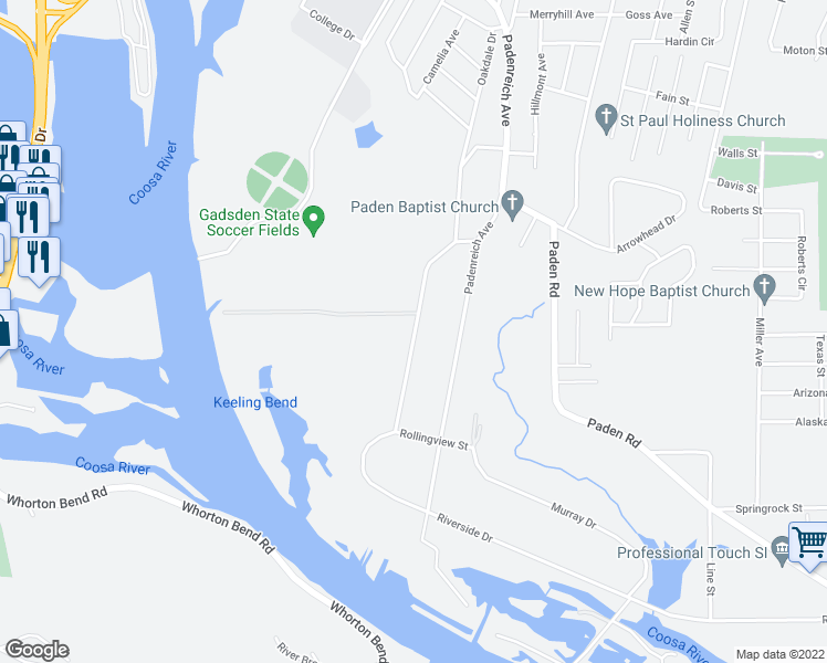 map of restaurants, bars, coffee shops, grocery stores, and more near 340 Riverside Drive in Gadsden