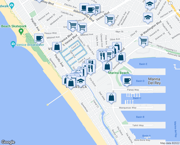 map of restaurants, bars, coffee shops, grocery stores, and more near 415 Washington Blvd in Marina Del Rey