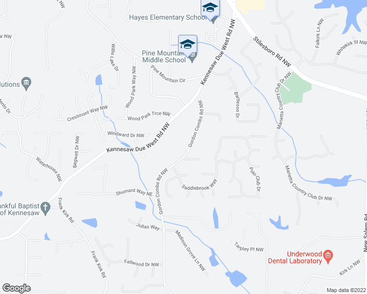 map of restaurants, bars, coffee shops, grocery stores, and more near 1135 Gordon Combs Road Northwest in Marietta
