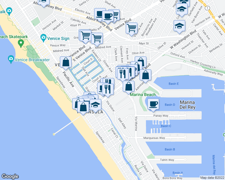 map of restaurants, bars, coffee shops, grocery stores, and more near 445 Washington Boulevard in Marina del Rey