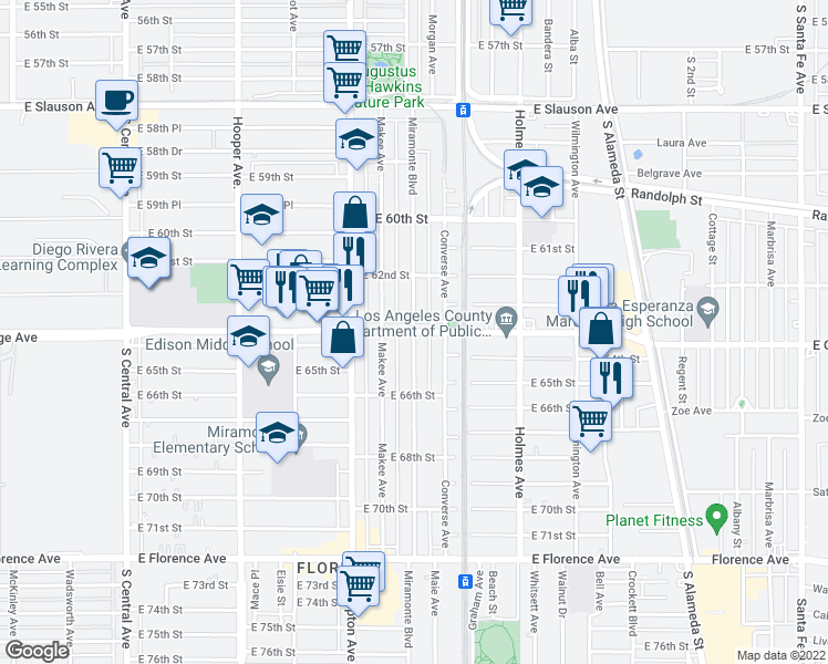 map of restaurants, bars, coffee shops, grocery stores, and more near 6316 Miramonte Boulevard in Los Angeles