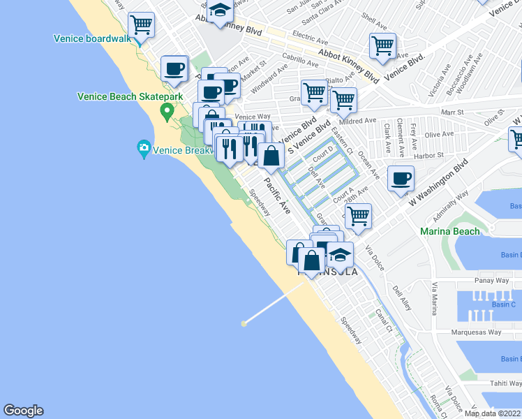map of restaurants, bars, coffee shops, grocery stores, and more near 2403 Ocean Front Walk in Los Angeles