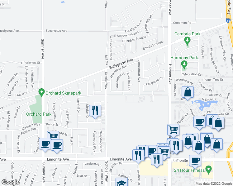 map of restaurants, bars, coffee shops, grocery stores, and more near 12945 Maryland Avenue in Corona