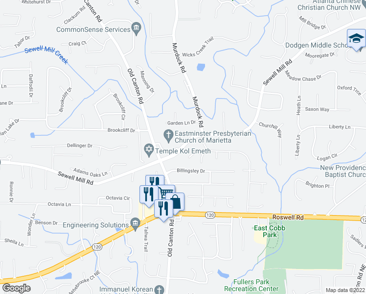 map of restaurants, bars, coffee shops, grocery stores, and more near Sewell Mill Road in Marietta