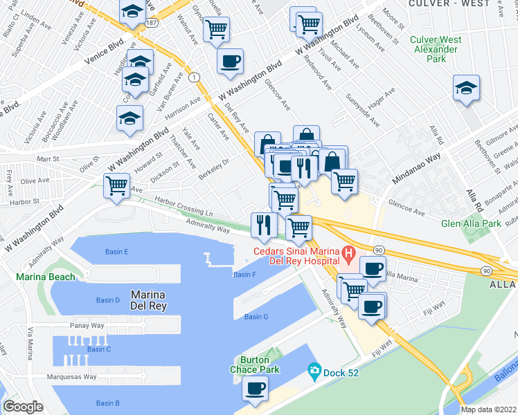 map of restaurants, bars, coffee shops, grocery stores, and more near 13603 Marina Pointe Drive in Marina del Rey