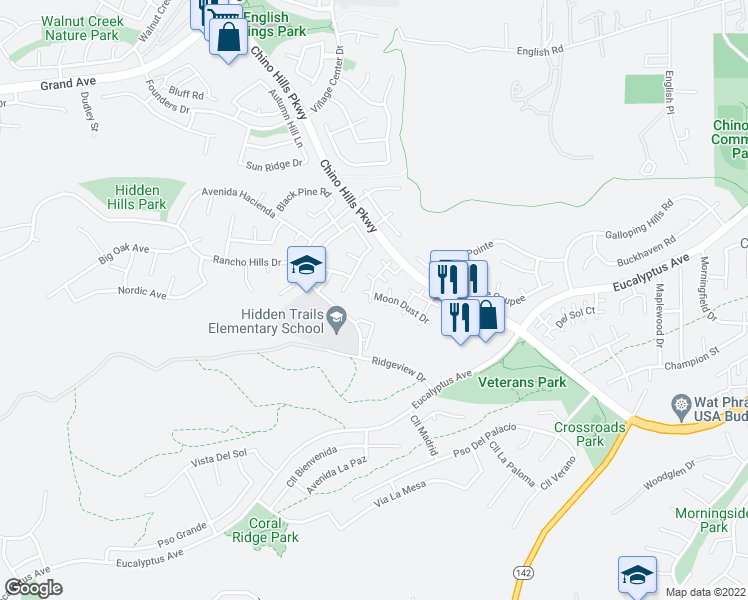 map of restaurants, bars, coffee shops, grocery stores, and more near 2431 Moon Dust Drive in Chino Hills