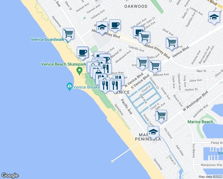 map of restaurants, bars, coffee shops, grocery stores, and more near 33 20th Avenue in Los Angeles