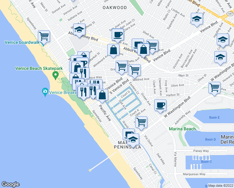 map of restaurants, bars, coffee shops, grocery stores, and more near 403 Carroll Canal in Los Angeles
