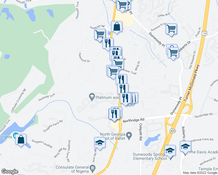 map of restaurants, bars, coffee shops, grocery stores, and more near 8450 Roswell Road in Atlanta