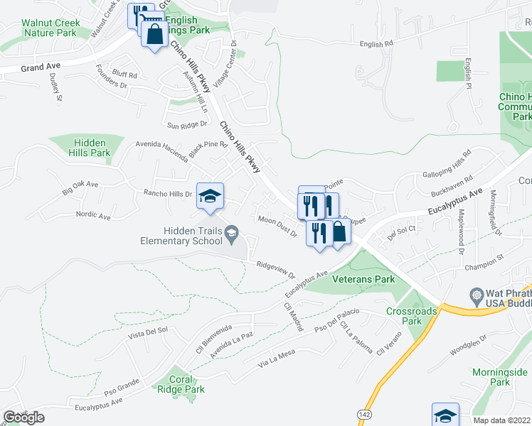 map of restaurants, bars, coffee shops, grocery stores, and more near 2440 Moon Dust Drive in Chino Hills