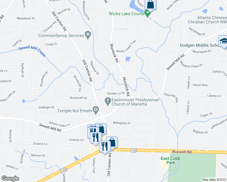 map of restaurants, bars, coffee shops, grocery stores, and more near 3119 Garden Lane Drive in Marietta