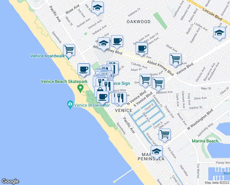 map of restaurants, bars, coffee shops, grocery stores, and more near 1720 Pacific Avenue in Los Angeles