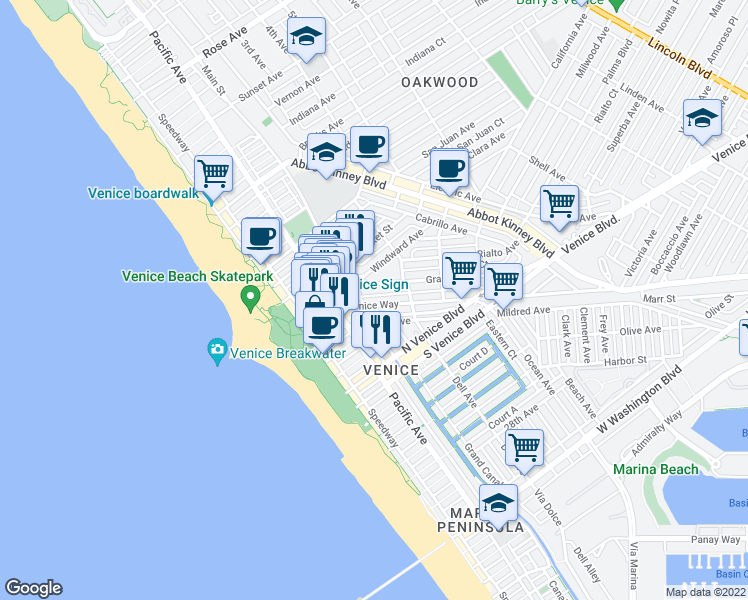 map of restaurants, bars, coffee shops, grocery stores, and more near 215 Venice Way in Venice