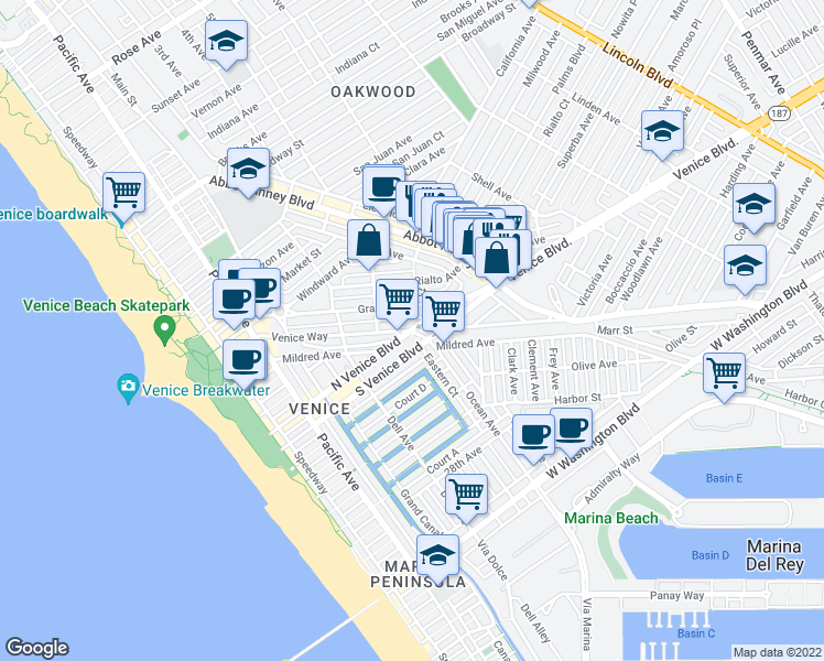 map of restaurants, bars, coffee shops, grocery stores, and more near N Venice Blvd & Venice Way in Los Angeles