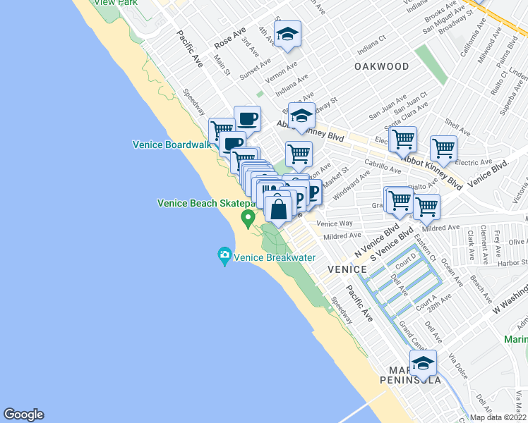 map of restaurants, bars, coffee shops, grocery stores, and more near Horizon Ave & Ocean Front Walk in Los Angeles