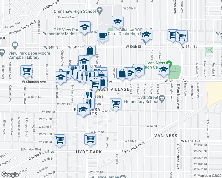map of restaurants, bars, coffee shops, grocery stores, and more near 3130 West Slauson Avenue in Los Angeles