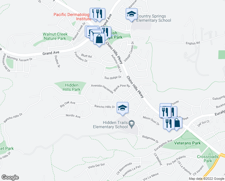 map of restaurants, bars, coffee shops, grocery stores, and more near 2202 Black Pine Road in Chino Hills