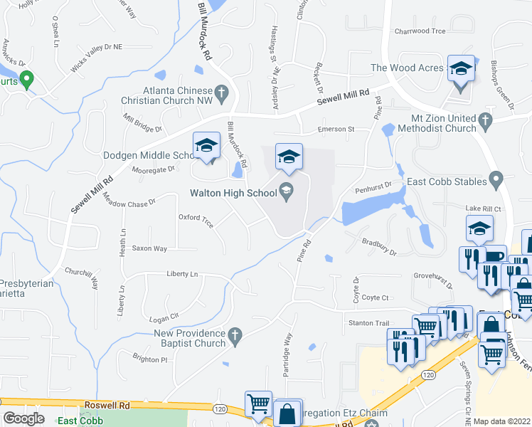 map of restaurants, bars, coffee shops, grocery stores, and more near 1565 Bill Murdock Road in Marietta