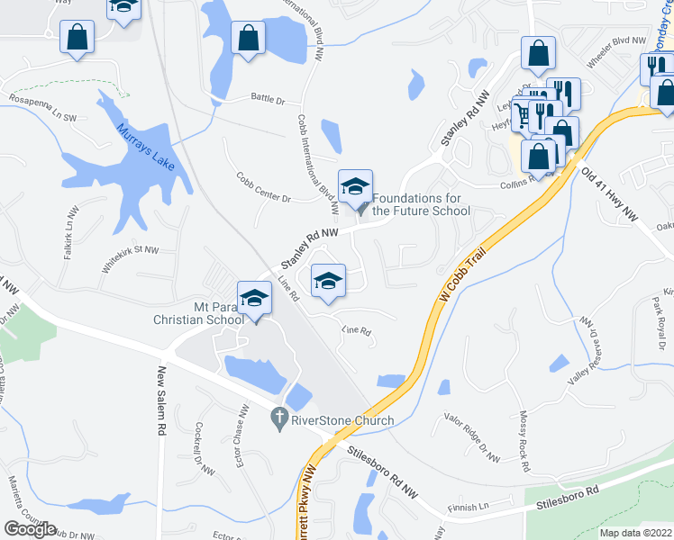 map of restaurants, bars, coffee shops, grocery stores, and more near 2014 Barrett Knoll Circle in Kennesaw