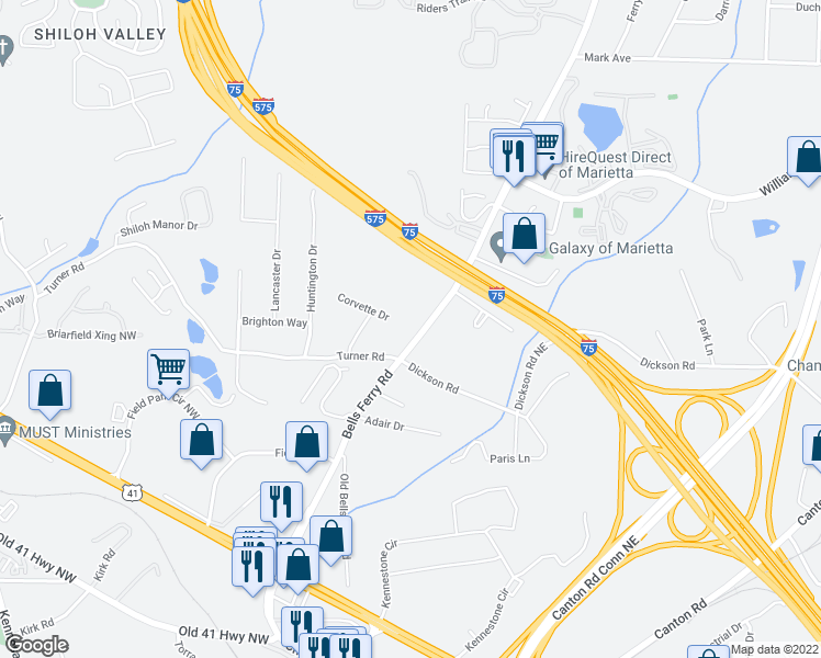 map of restaurants, bars, coffee shops, grocery stores, and more near 1535 Bells Ferry Road in Marietta