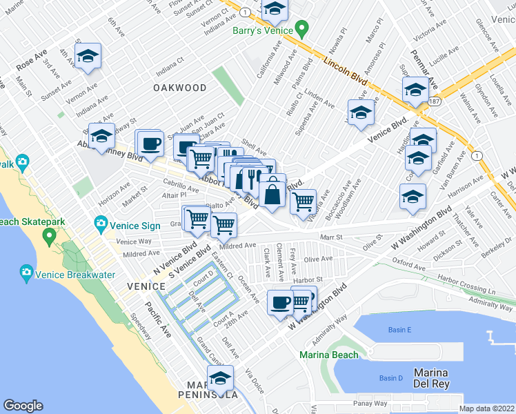 map of restaurants, bars, coffee shops, grocery stores, and more near Venice Boulevard & Abbot Kinney Boulevard in Los Angeles