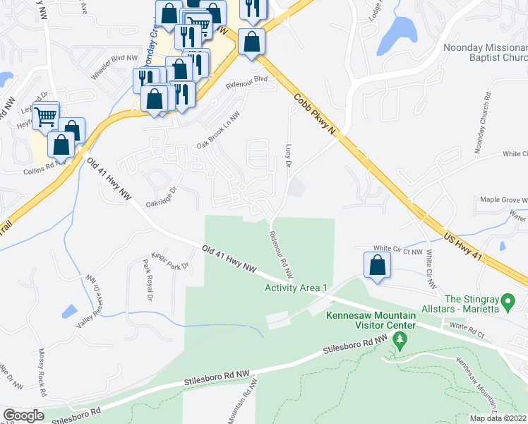 map of restaurants, bars, coffee shops, grocery stores, and more near 1101 Ridenour Parkway Northwest in Kennesaw