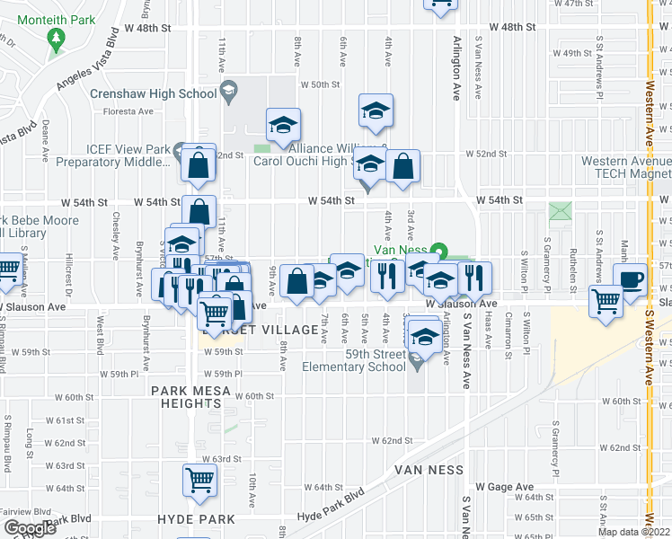map of restaurants, bars, coffee shops, grocery stores, and more near 5715 6th Avenue in Los Angeles