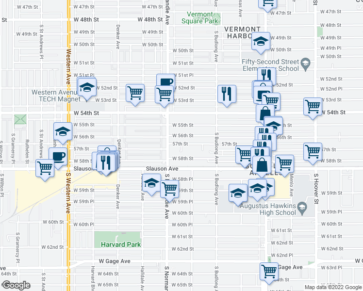 map of restaurants, bars, coffee shops, grocery stores, and more near 1330 West 57th Street in Los Angeles