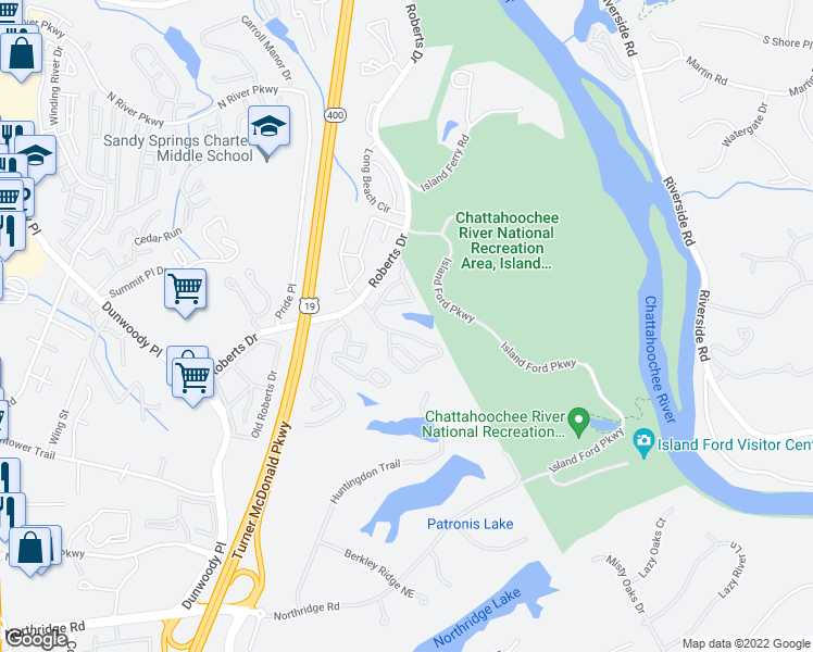 map of restaurants, bars, coffee shops, grocery stores, and more near 8600 Roberts Drive in Atlanta
