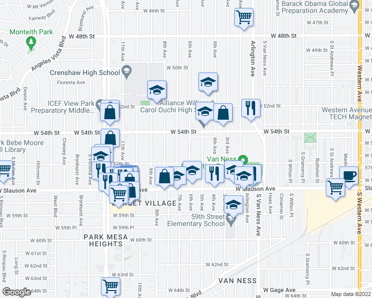 map of restaurants, bars, coffee shops, grocery stores, and more near 5439 6th Avenue in Los Angeles