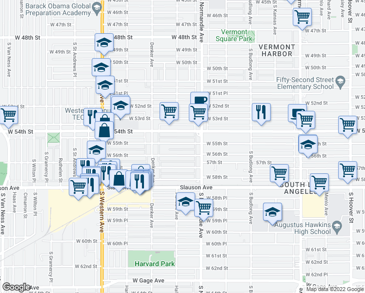 map of restaurants, bars, coffee shops, grocery stores, and more near 1448 West 55th Street in Los Angeles