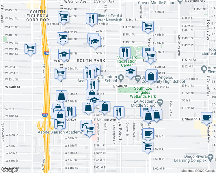 map of restaurants, bars, coffee shops, grocery stores, and more near 154 East 54th Street in Los Angeles