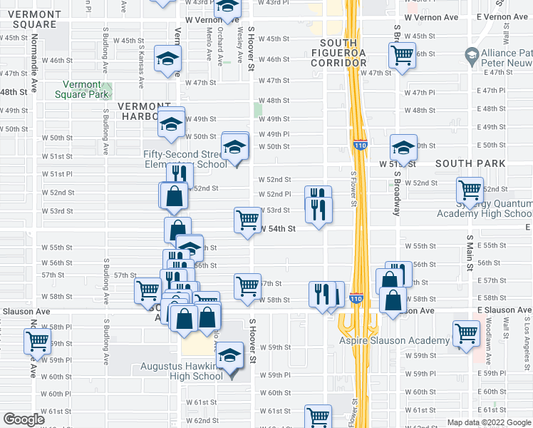 map of restaurants, bars, coffee shops, grocery stores, and more near 718 West 53rd Street in Los Angeles