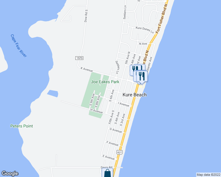map of restaurants, bars, coffee shops, grocery stores, and more near 142 South 6th Avenue in Kure Beach