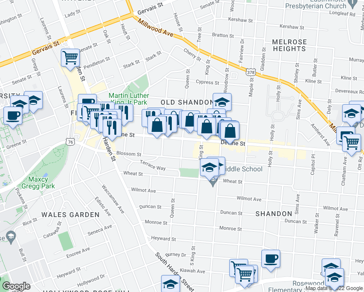 map of restaurants, bars, coffee shops, grocery stores, and more near Queen Street in Columbia