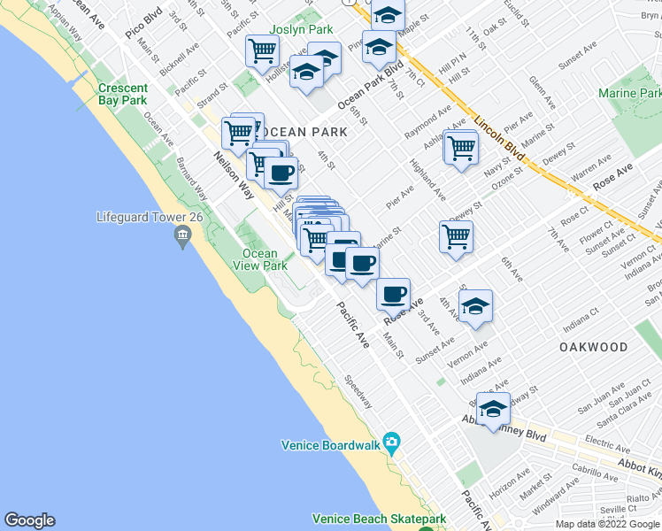 map of restaurants, bars, coffee shops, grocery stores, and more near 2925 Main Street in Santa Monica