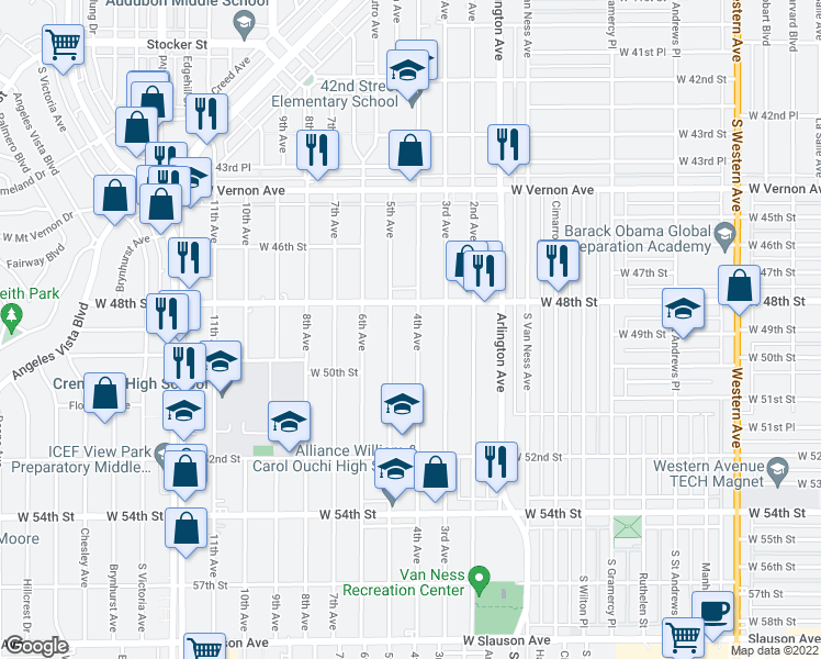 map of restaurants, bars, coffee shops, grocery stores, and more near 4829 4th Avenue in Los Angeles