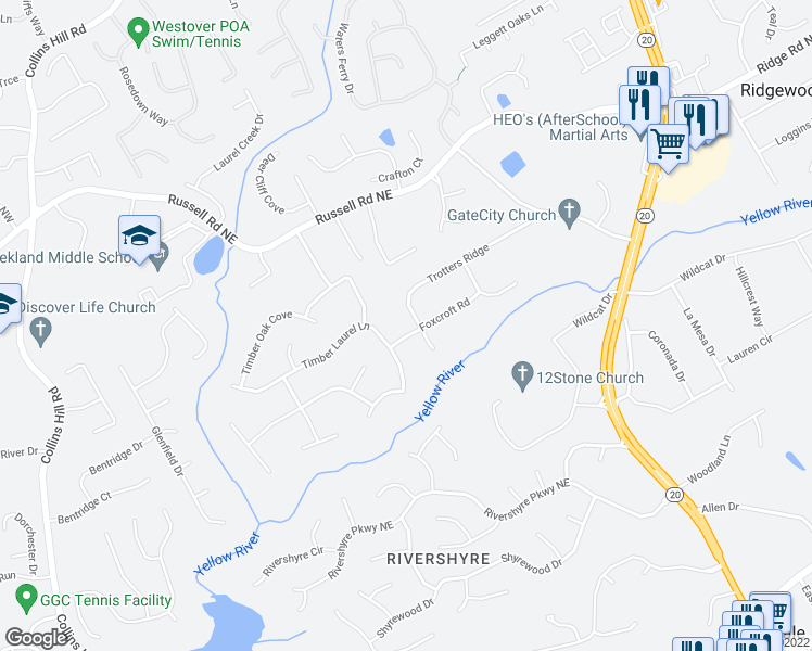 map of restaurants, bars, coffee shops, grocery stores, and more near 315 Foxcroft Road in Lawrenceville