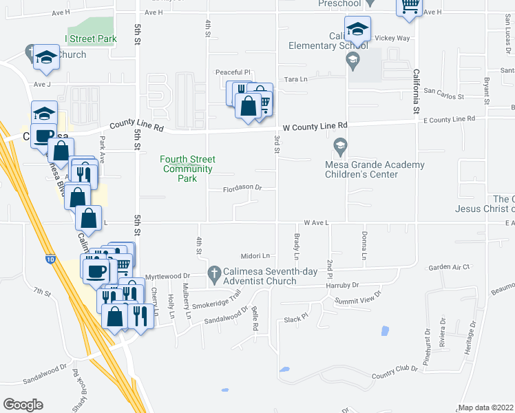 map of restaurants, bars, coffee shops, grocery stores, and more near 387 Halberta Circle in Calimesa