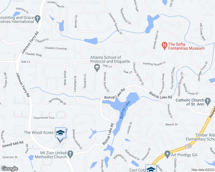 map of restaurants, bars, coffee shops, grocery stores, and more near 2210 Smoke Stone Circle in Marietta
