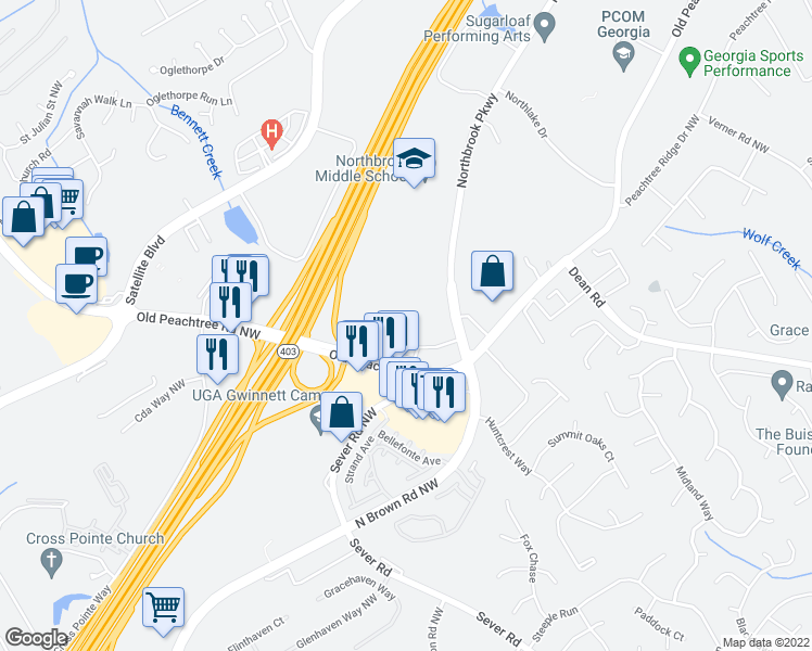 map of restaurants, bars, coffee shops, grocery stores, and more near 1045 Old Peachtree Road Northwest in Suwanee