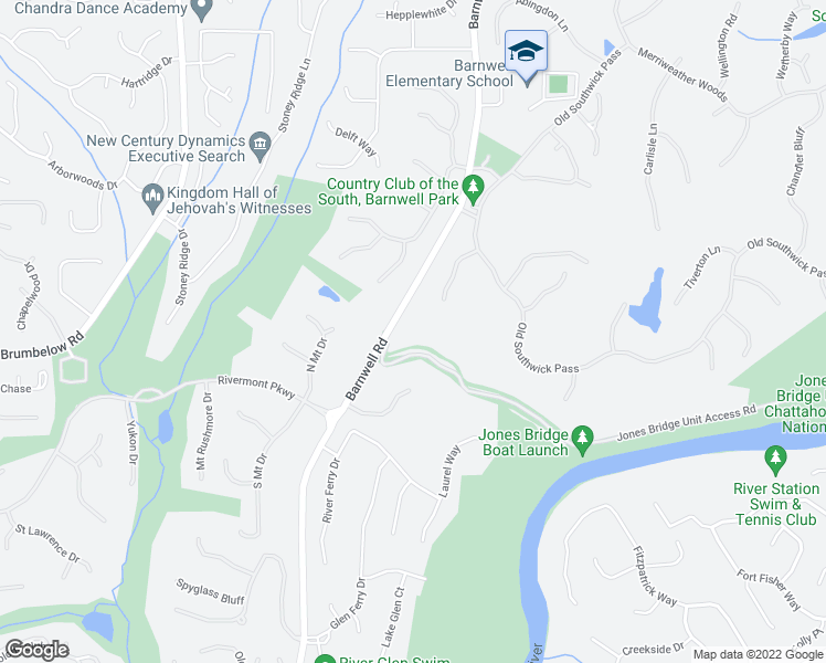 map of restaurants, bars, coffee shops, grocery stores, and more near 1050 Bedford Gardens Drive in Alpharetta